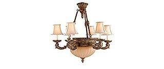 Aged Wood Finish 8 Light French Chandelier