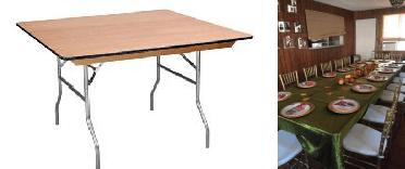 Square Wood Folding Legs Table