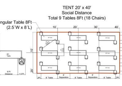 Social Distance Tables 20×40 Tent
