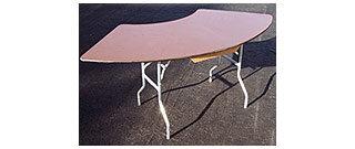 Serpentine Wood Folding Legs Table