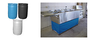 Portable hot & cold 3 parts sink