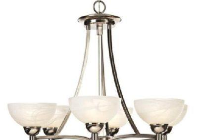 Silver Chandelier (Six 60w Bulb Lighting)