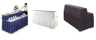Portable 4' Bar with linen Skirt Black, White or Royal Blue.