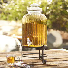 Glass Beverage Dispenser with Metal Stand