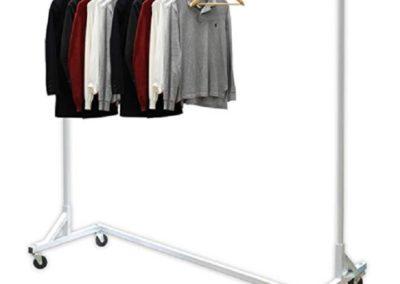 Garment Rack: Z-base 400lb load with 62″ long bar