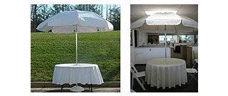 Patio Umbrella  6'10 round white vinyl top  7'4 high aluminum pole with black base