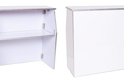 Portable 4' Bar (White vinyl) One Shelf for Supplies