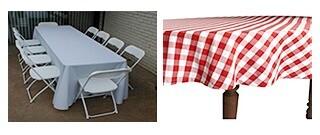 Rectangular Tablecloths For 6ft or 8ft tables  (Poly Gabardine or Satin)