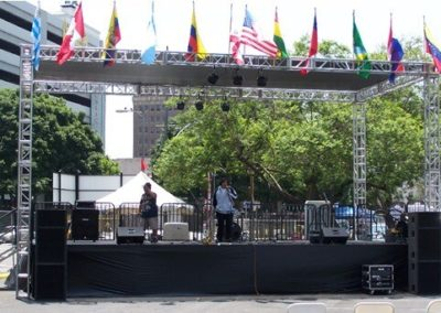 16'W x 32'L x 2.6'H stage with one stair unit, handrails, black skirt