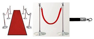 Stanchions polished chrome plated with velvet red rope